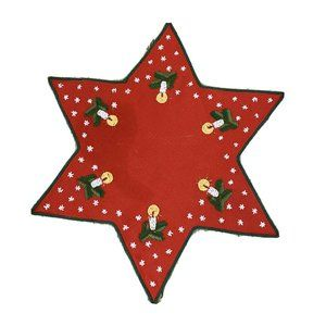Christmas Doily Embroidered  Star Candle Bough Red